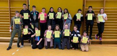 Schülerinnen und Schüler der Bisttalschule beim Völkerballturnier in Saarwellingen