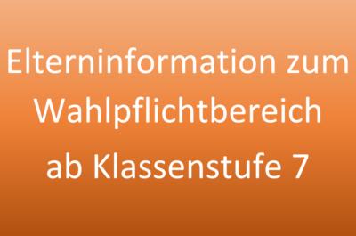 Informationen zum Wahlpflichtbereich